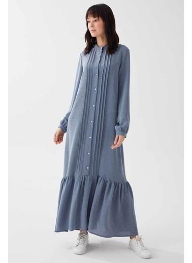 Vivencia Nervür Detaylı Kadın Elbise Gül Kurusu İndigo
